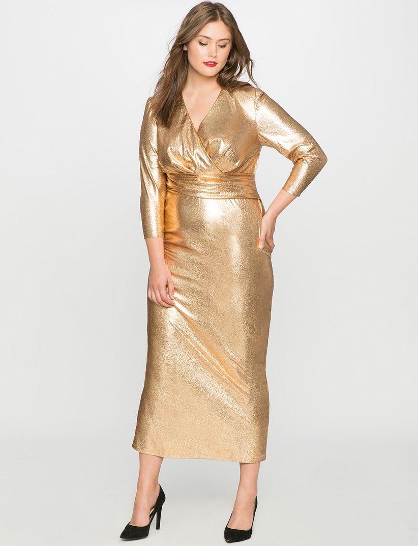 Vestidos de noche para gorditas color oro