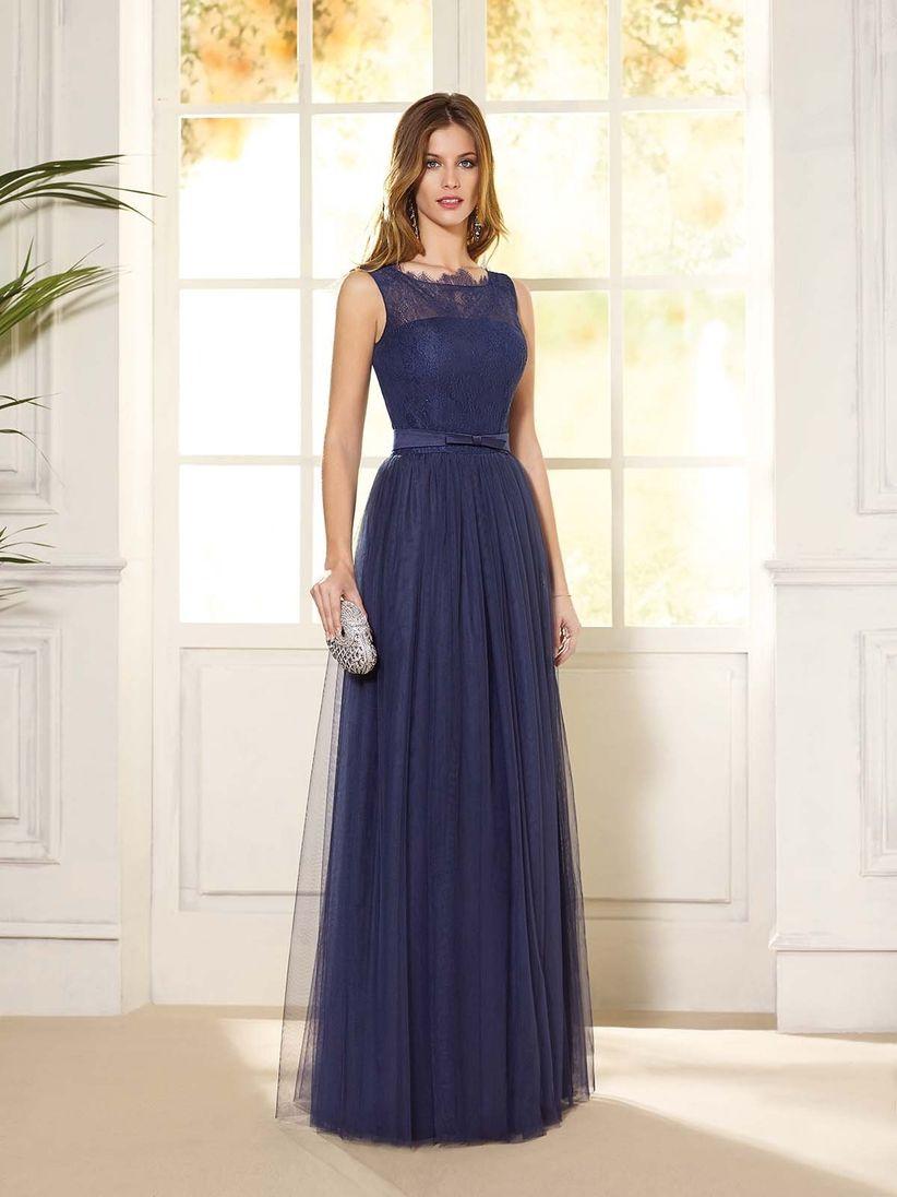 Vestido azul marino liso