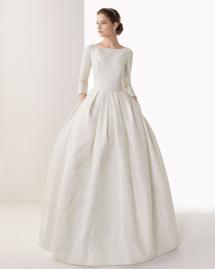 Simple And Elegant Wedding Dresses Boat Neck Three Quarter: Vestidos De Novia De Manga Tres Cuartos