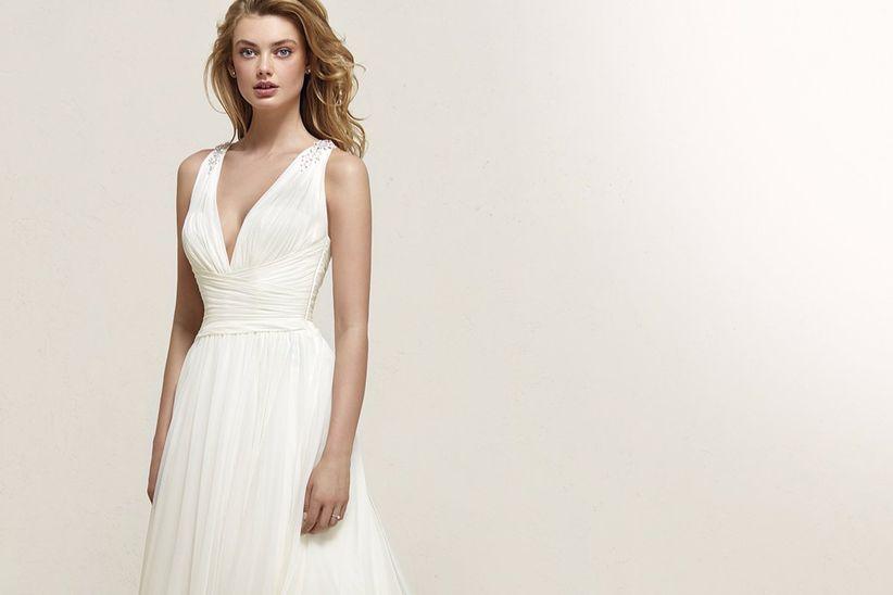 Vestido de novia corte sirena para bajitas