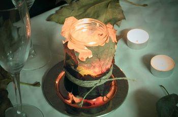 Porta velas con hojas