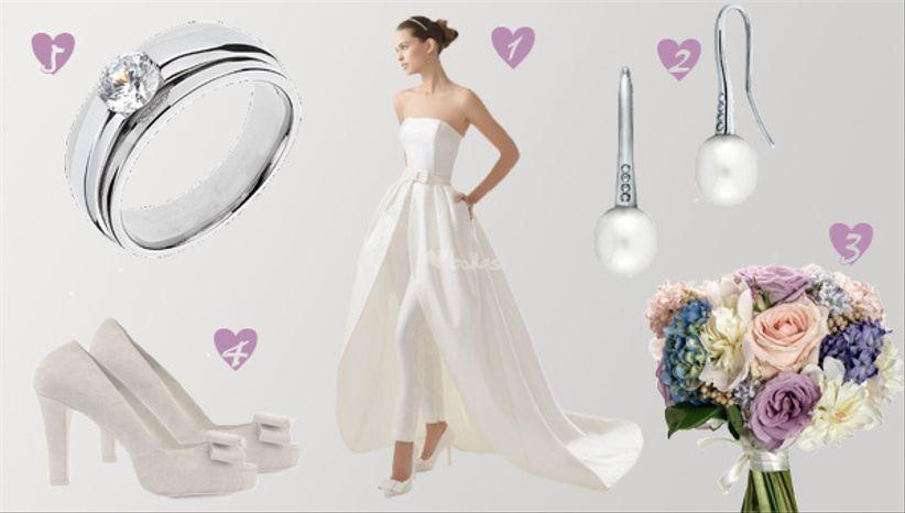 81c0aaea3 Hoy buscamos una idea poco convencional para proponerte un look de novia  diferente. Cuando vimos el vestido nos enamoramos de su combinación  perfecta entre ...