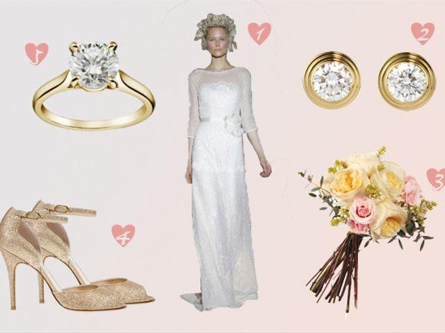Look de novia ninfa en blanco y oro