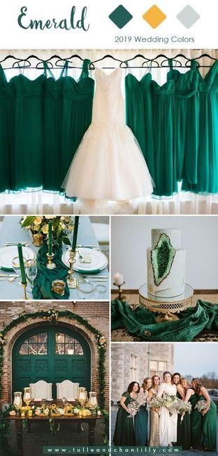 Verde esmeralda y dorado como colores de matrimonio 1