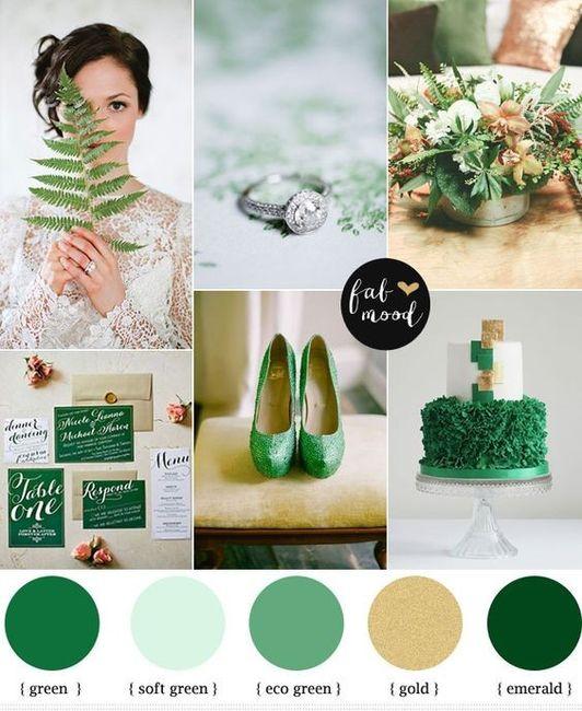Verde esmeralda y dorado como colores de matrimonio 5