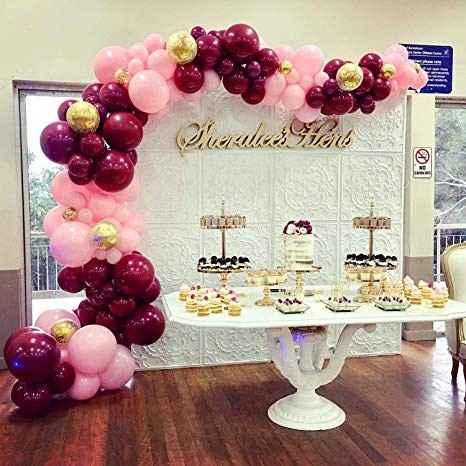 Idea vinotinto y rosa mas dorados