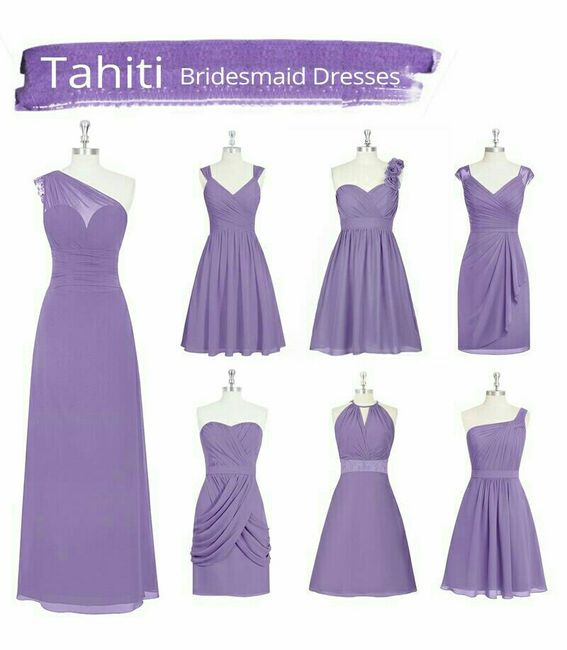 Vestidos en tonos morado y violetas para damas de honor