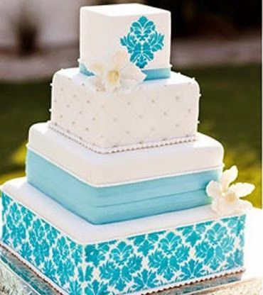 light blue and yellow wedding cakes tortas turquesa 16852