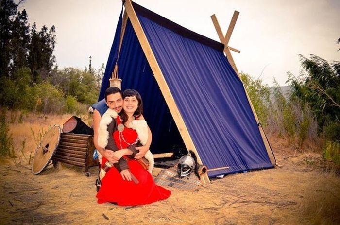 Con Luis en un campamento Vikingo
