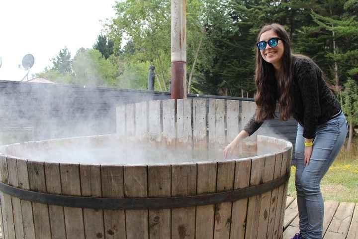 Probando la tinaja de agua caliente