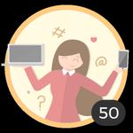 Blogger (50). ¡Ya creaste 50 debates! Internet es tu medio para compartir ideas y dudas con los demás. Presume con esta medalla de ser una auténtica bloggera.