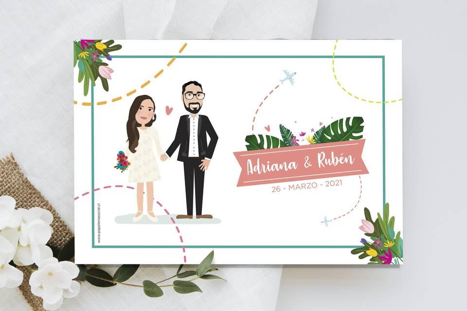 Invitación ilustrada impresa