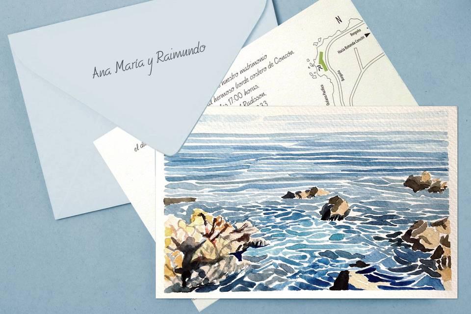 Invitaciones, postales y acuarela